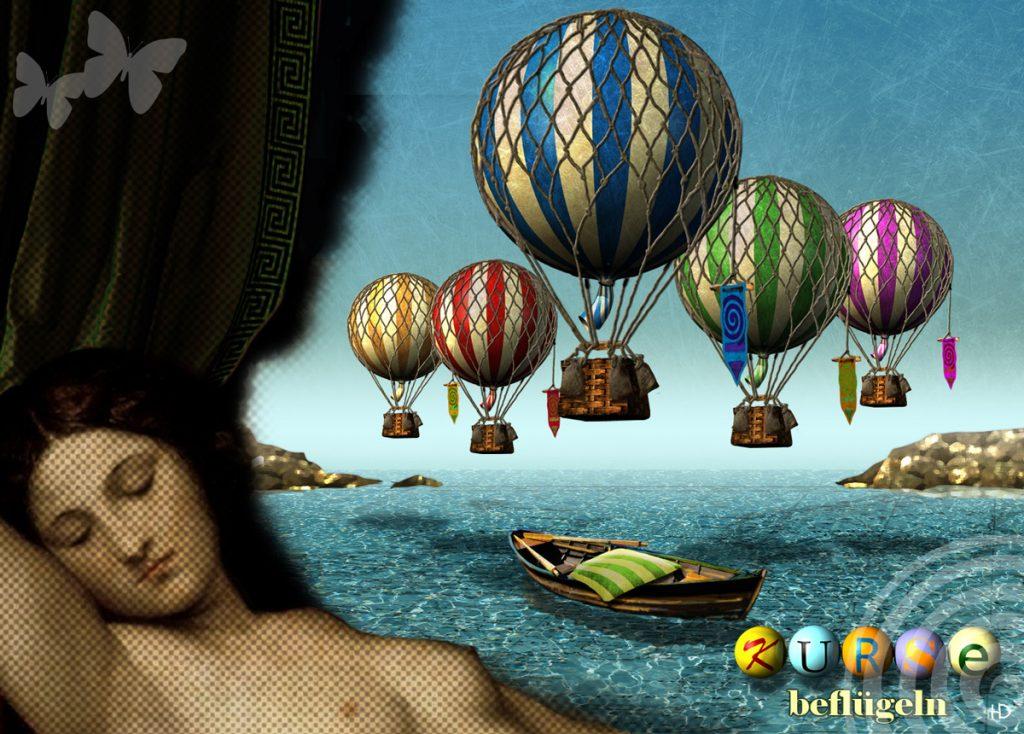 Tizians Venus schläft über einem Wasser über dem bunte Ballons schweben